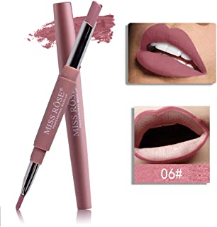 MISS ROSE 2-in-1 Lipstick Pen Lip Liner Double head 8 colors available Waterproof Lasting Lip Liner Stick Pencil Lipstick-F,Nude color