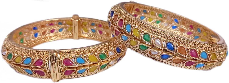 SANARA Indian Bollywood Traditional 18k Gold Plated Multi Color Navratan Bangle Bracelet Set Women Wedding Bridal Set Jewelry