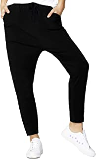 Women's Jogger Sweatpants Cotton Jersey Drop Crotch Black Designer Casual Pants with Pockets