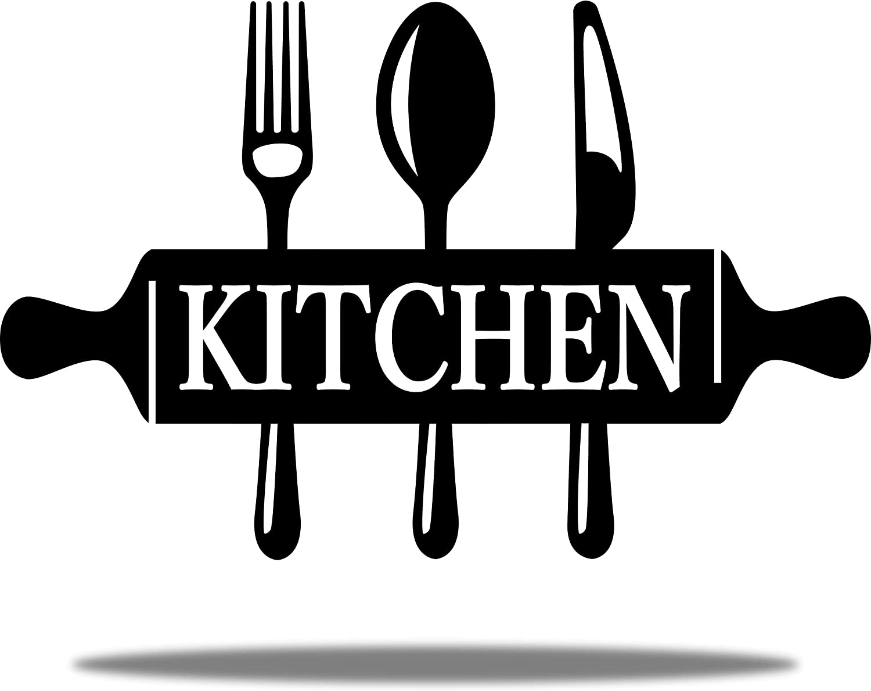 "Vivegate Utensil Kitchen Art Wall Decor – 18""X10"" Metal Utensil Wall Art Black Kitchen Wall Decor Sign for Kitchen and Dining Room Metal Wall Decor"