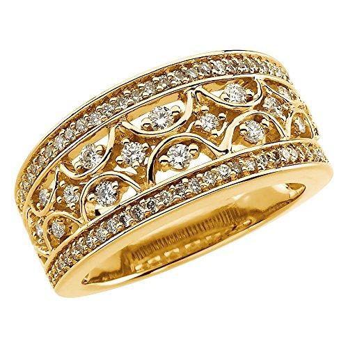14ct de oro amarillo y diamante en bruto del anillo de 5/8CT - Talla L 1/2 - JewelryWeb