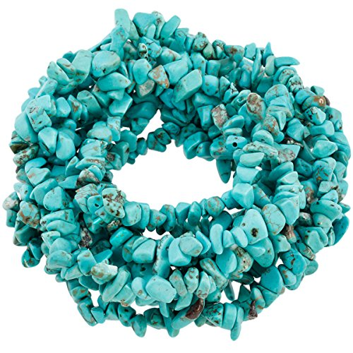 """SUNYIK Howlite Turquoise Tumbled Chip Stone Irregular Shaped Drilled Loose Beads Strand for Jewelry Making 35"""""""