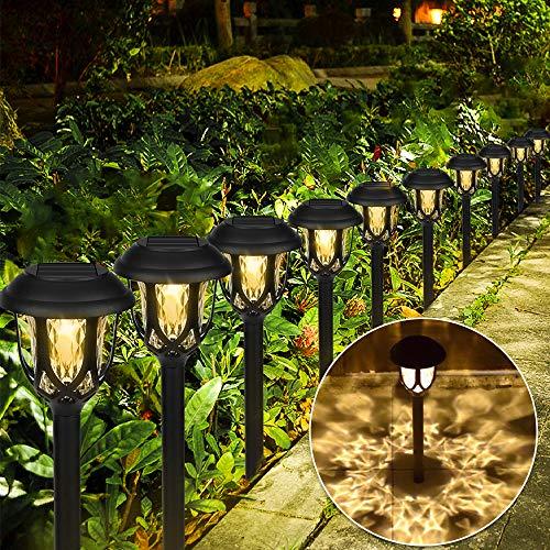 10 Pezzi Lampada Solare da Giardino,LED Luci Solari Giardino Lampade da Esterno per Prato Lampade Terra IP65 Impermeabile Faretti Solari Luce,per Cortile Terrazzo Villa Vialetti Vacanza Natale
