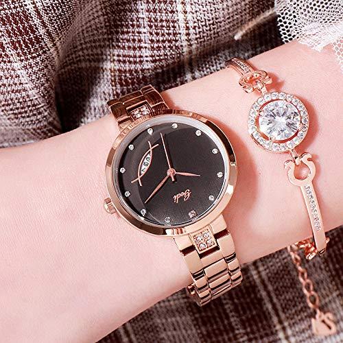 Powzz - Reloj de pulsera para mujer, sencillo y informal, con calendario, resistente al agua, cuarzo rosa dorado, carcasa negra