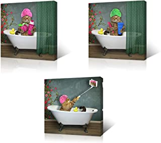 VVOVV Wall Decor Animal Wall Decor Funny Pet Cat Pictures Wall Art Framed Modern Canvas Painting Bathroom Wall Decorations Ready to Hang (12x12inchx3pcs)