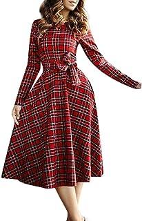 FRAUIT Vestito Scozzese Donna Manica Lunga, Vintage Donna Vestiti Lungi Big Swing Abito Donna Elegante Cerimonia Lungo Abi...