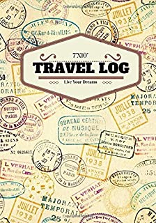 "7""x10"" Travel Log: Adventure Stamps design | Travellers Notebook, Books, Scrapbook, Planner, Keepsake, Journal, Memories | Destination Checklist | Medium Softback (World Cultures) (Volume 16)"