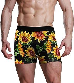JIRT Boxer Shorts Gamba Intimo Uomo S-XL Low Rise Mutande Girasole e Foglia