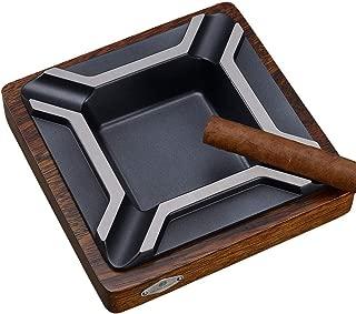 CHOUCHOU Ashtray, Creative Cigar Ashtray Large Solid Pedestal Wood 4 Smoke Metal Smoke Slot Design Personality Smoking Gift (18 18 4cm) Brown 烟灰缸