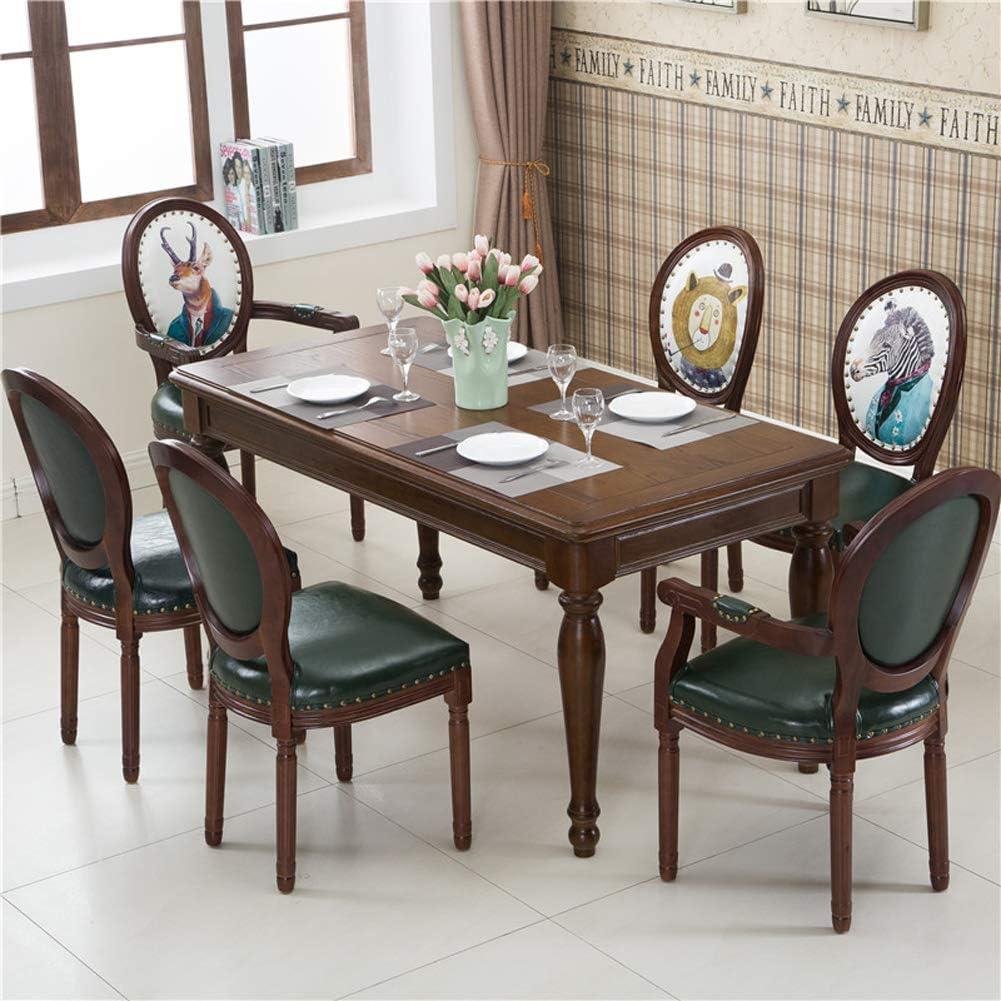 Chaise de salle à manger avec dossier en bois massif américain rétro en tissu café nordique et chinois size 1 4