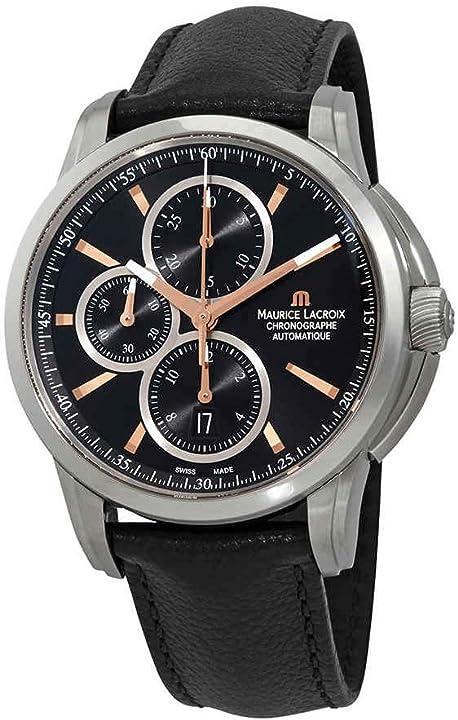 Orologio maurice lacroix pontos cronografo automatico quadrante nero orologio da uomo pt6188-ss009-332