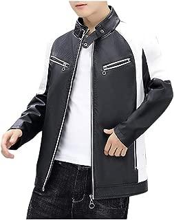 wuliLINL Mens Faux Leather Jacket Biker Motorcycle Coat Zipper Stand Collar Slim fit Long Sleeve Coat