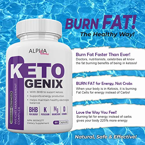 Alpha Femme Keto Genix - with BHB to Support ketosis - 120 Capsules - 2 Month Supply