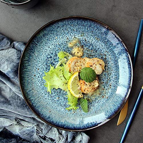 Gweat Kreative Vintage Ink Grün Keramik Schüssel Große Kapazität Obstteller Salatplatte Unterglasur Farbe Home Ramen Schüssel Geschirr (Farbe : 1)
