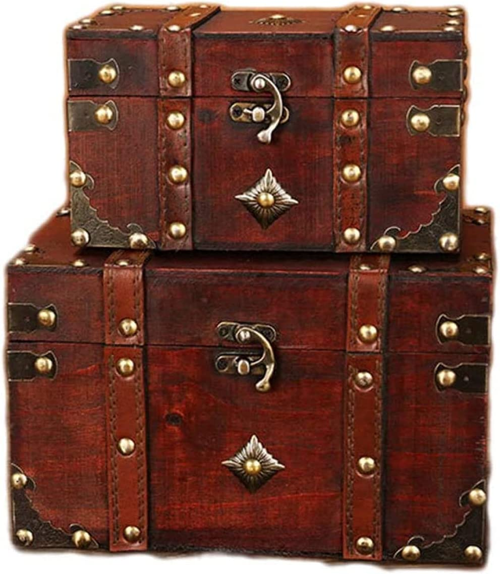 BERTY·PUYI Wooden Treasure Gorgeous Chest with outlet Lock Handmade Vintage Sto