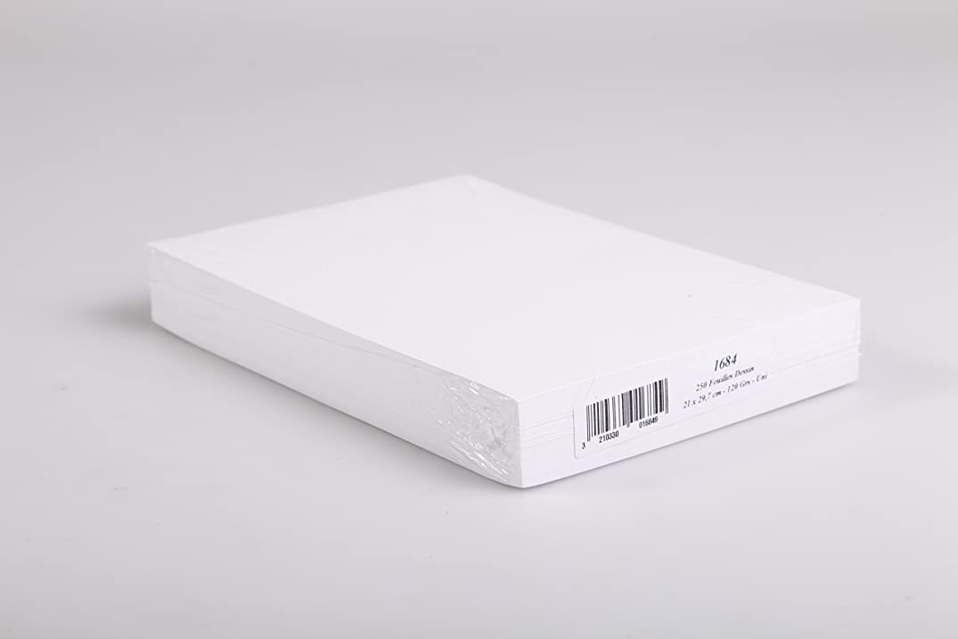 Clairefontaine A4 Drawing Sketch Paper, 120 g, White, Pack 250 Sheets