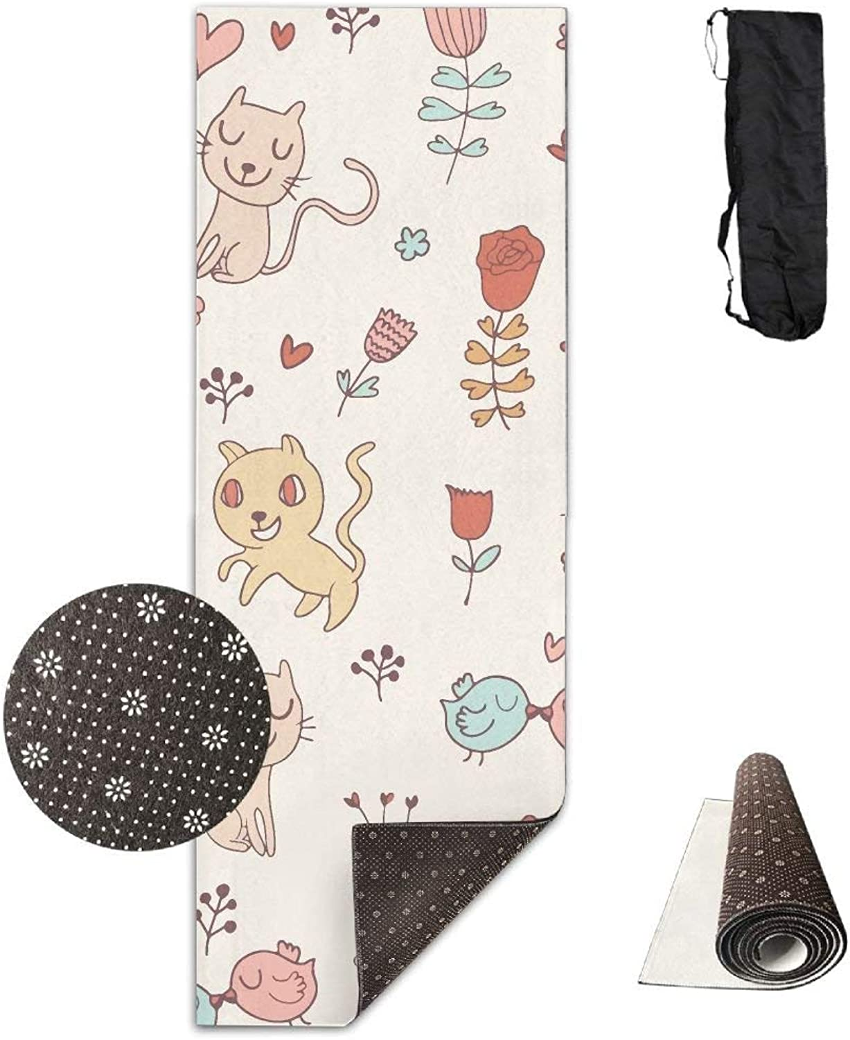 Happy Cat with Flowers Deluxe Yoga Mat Aerobic Exercise Pilates