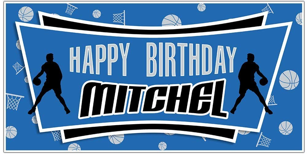Basketball Party Max Ranking TOP2 55% OFF Blue and Black Personalized Birthday Background