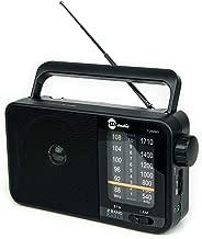 HDi Audio Home Portable Retro AM/FM Radio Player + Headphone Jack + Built in Speaker Rugged | Large Tuning Knob | Best Reception | (Black)