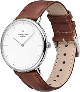 Nordgreen Native Scandinavian Silver Analog Watch with Leather or Mesh Interchangeable Straps