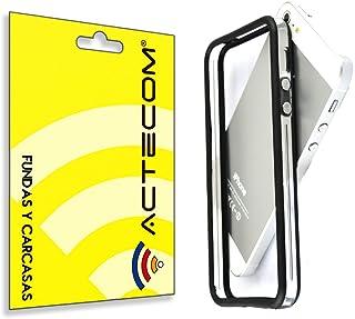 dbfb190c61f cogac ACTECOM® Funda Bumper para iPhone SE 5 5S Negro Centro Transparente  Carcasa Protectora