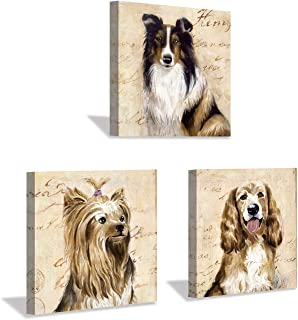 """Hardy Gallery Dogs Picture Wall Decor Print: Puppy Graphic Artwork Painting on Canvas Set (12""""x12""""x3pcs)"""