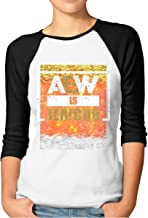 ThomLarryCA Aew is Jericho Women's Raglan 3  Sleeves Baseball T Shirt Graphic Tee Shirt Tops Black