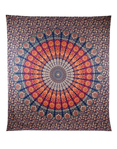 ele ELEOPTION Wandteppich Indian Mandala Wall Hanging Hippie Tapestry Wanddeko für Kinderzimmer Wohnzimmer Schlafzimmer auch als Yogamatte Picknickdecke Strandtücher (Rot und Grün, 150 x 205cm)