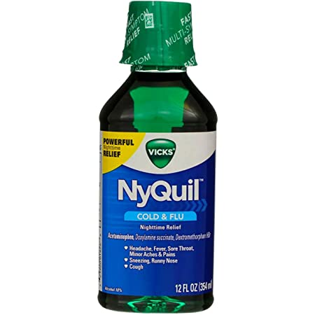 Vicks Nyquil Cold & Flu Nighttime Relief Liquid, Original Flavor 12 oz (Pack of 3)
