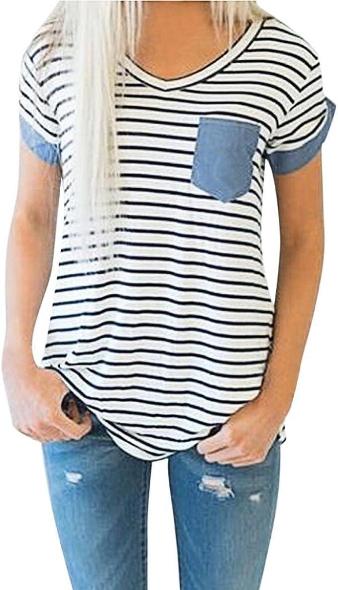 Camisas Mujer Ropa de Mujer de Moda Camiseta Tops de Rayas de Manga Corta para Mujer Blusa de Patchwork Xinantime