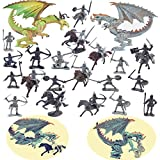 Guaishou Dragon Knight Action Figure Horse with Lance Fantasy World Ancient Soldiers Warriors Army Cavalry Party Favors Classic Soldier Toys