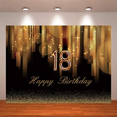 Zhy 18th Birthday Backdrop 7x5ft Polyester Fabric 18th Birthday Photos Background Glitters Photos Princess 18th Birthday Party Decoration Birthday Bash Background Studio Props
