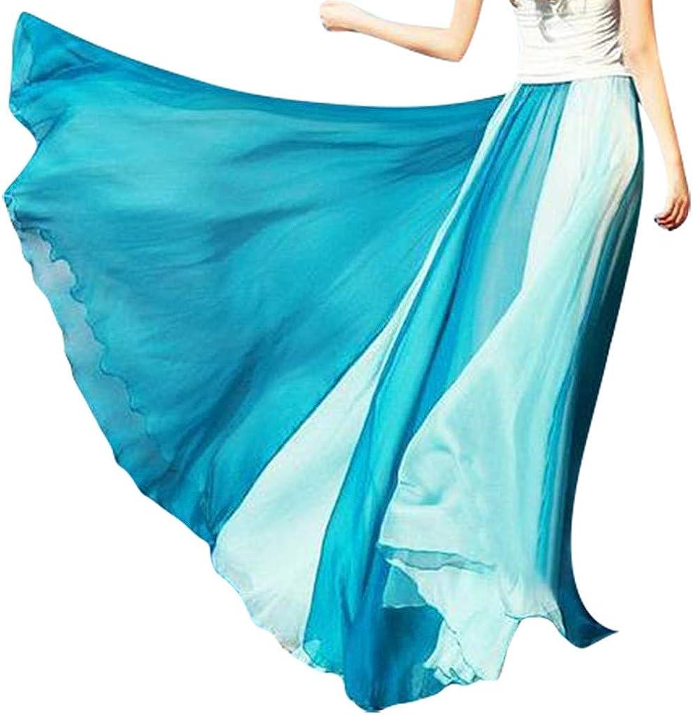 Holzkary Women Elastic Waist Layered Gauze Tulle Ball Gown Big Swing Long Skirt Bohemian Skirt