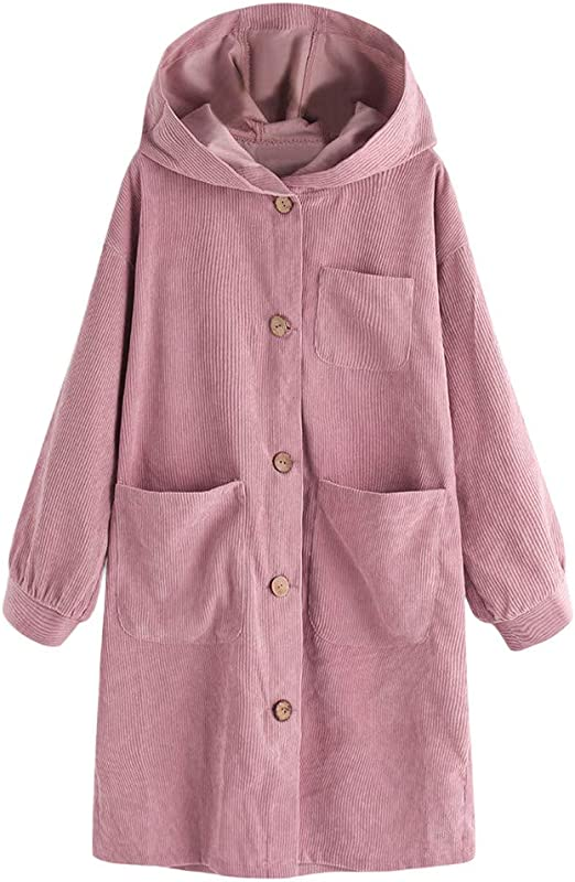 Women Oversize Long Sleeve Button Down Casual Hooded Pocket Jacket Coat Cardigan Single Breasted With 3 Pocket Loose Coat
