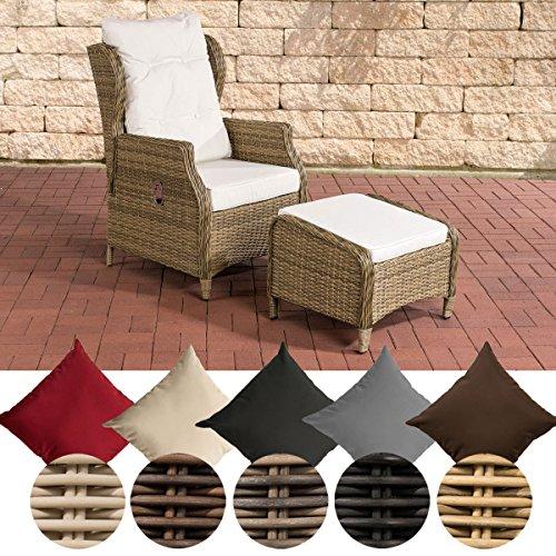 CLP Polyrattan-Sessel Breno Mit Sitzpolster Und Fußhocker I Relaxsessel Mit Verstellbarer Rückenlehne, Farbe:Natura, Polsterfarbe:Cremeweiß