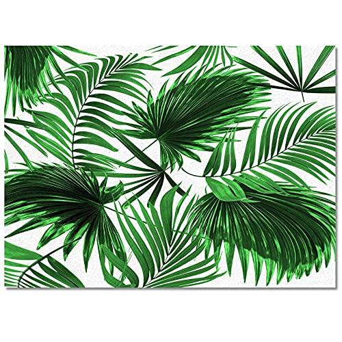 Planta Verde Hoja de Palmera Alfombra de Cocina Moderna Alfombra de Entrada de Dormitorio Largo Felpudo decoración del Suelo del hogar Alfombra de Sala de Estar alfombra-40x60
