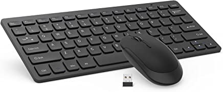 Wireless Keyboard Mouse, Jelly Comb 2.4GHz Ultra Thin Compact Portable Small Wireless Keyboard and Mouse Combo Set for PC, Desktop, Computer, Notebook, Laptop, Windows XP/Vista / 7/8 / 10 - Black