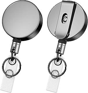 2 Mousquetons Rétractables - Robuste escamotable Avec fil d'acier épais Porte-clés Enrouleur Rétractable Porte-cartes Port...