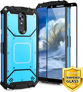 TJS LG Stylo 4 2018/LG Stylo 4 Plus/LG Q Stylus/LG Q Stylus Plus/LG Q Stylus Alpha Phone Case, [Full Coverage Tempered Glass Screen Protector] Aluminum Shockproof Military Metal Plate Back (Blue)