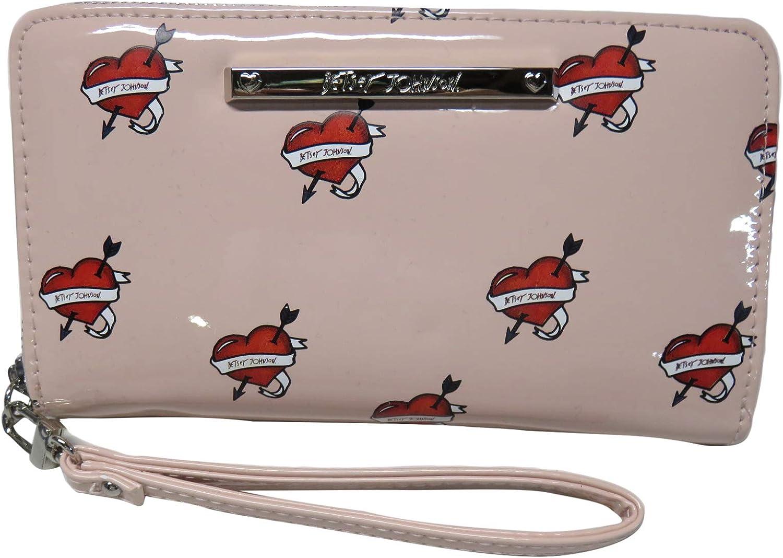 Betsey Johnson Women's Wristlet Wallet, Pink Hearts