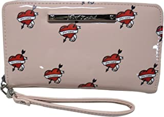 Betsey Johnson Women's Wristlet Wallet, Pink/Hearts