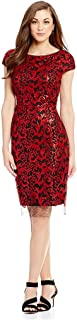 a403a86e67c Antonio Melani Milo Cap Sleeve Sequin Mesh Sheath Dress Red