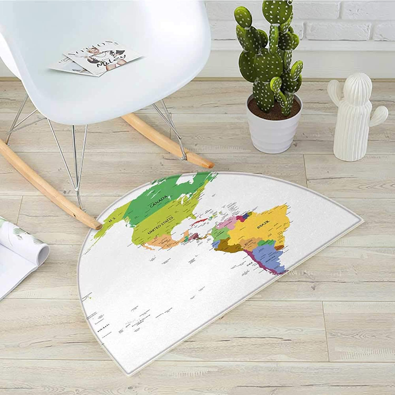 Map Half Round Door mats Map of South and North America with Countries Capitals and Major Cities colorful Design Bathroom Mat H 39.3  xD 59  Multicolor