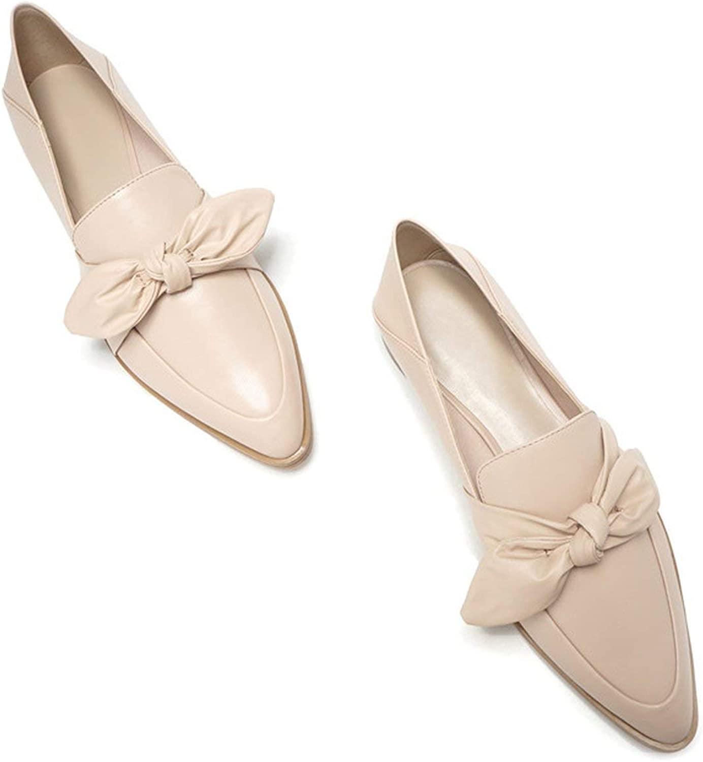 White Island Women Casual shoes Beige Flats PU Leather Women shoes Slip On Bow Loafers Women Flats Fashion Comfortable Pointed shoes K-169,Beige,9