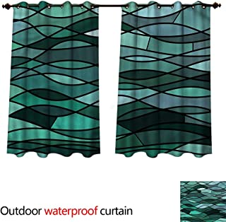 cobeDecor Teal Home Patio Outdoor Curtain Mosaic Sea Waves Inspired W96 x L72(245cm x 183cm)