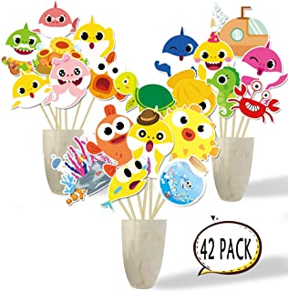 Shark Theme Cute Carnival Table Topper, Centerpiece Sticks Shark Party Supplies Table Topper Decorations, Shark Centerpiece Sticks for Kids Shark Theme Birthday Party Decoration Under the Sea, Baby Shower Photo Booth Props, Cake Toppers