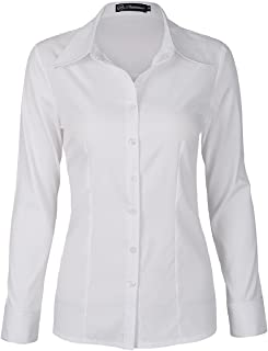 SUNNOW Women Simple White Collared Long Sleeves Button Down Shirt Blouse