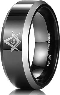 King Will Classic 8mm Black Men's Tungsten Carbide Ring Polished Masonic Compass Square Free Mason