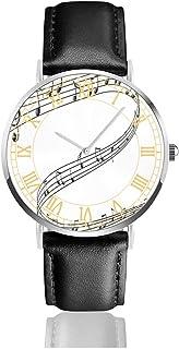 腕時計音符のペンキ。メンズ腕時計ファッションカジュアルビジネススポーツ高品質多機能クロノグラフレザーウォッチレザーストラップ防水クォーツウォッチ