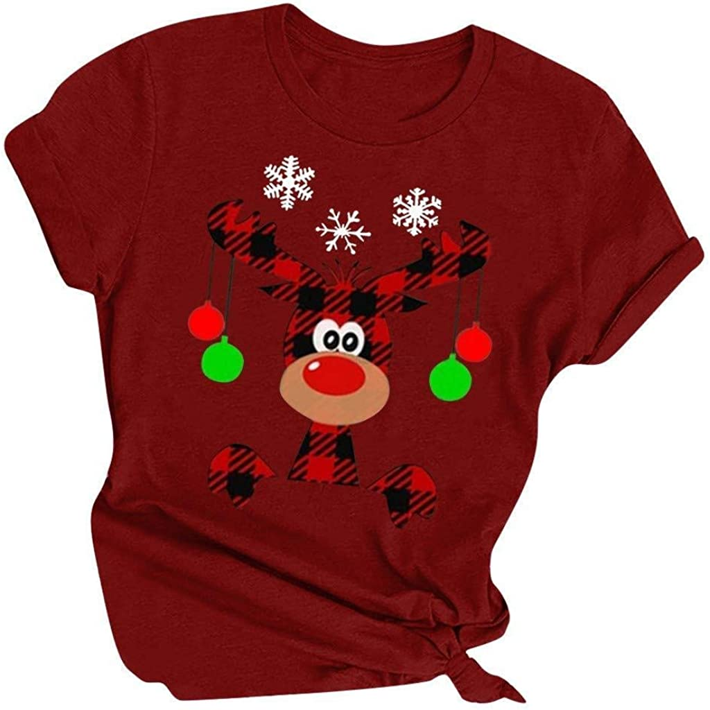 Arlington Mall T Shirts for Women Plus Max 41% OFF Size T- Printed Reindeer Christmas Merry